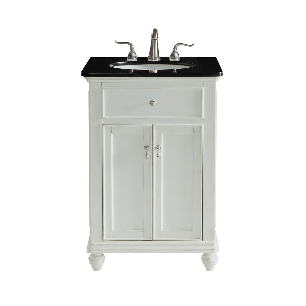 Somerton 24 in. Single Bathroom Vanity with 1-Shelf 2-Doors Granite Top Porcelain Sink in Antique White Finish