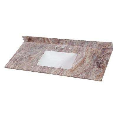 49 in. W Stone Effects Single Basin Vanity Top in Cold Fusion