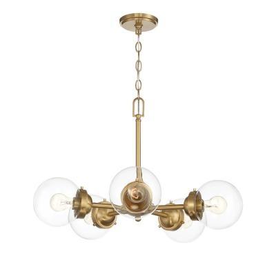 Knoll 5-Light Brushed Gold Chandelier with Clear Glass Shades