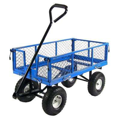 Blue Steel Utility Cart with Removable Folding Sides