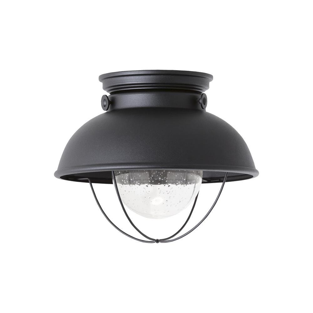 Sebring Black Integrated LED Outdoor Flush Mount