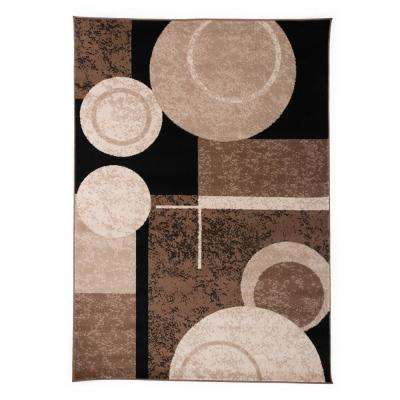 Circles Design 7 ft. 10 in. x 10 ft. Brown Area Rug