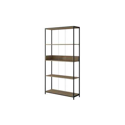 Ellis 36.61 in. Dark Oak and Black Bookcase 1.0 with 4-Shelves