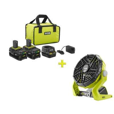 18-Volt ONE+ High Capacity 4.0 Ah Battery (2-Pack) Starter Kit with Charger and Bag with FREE ONE+ Hybrid Portable Fan