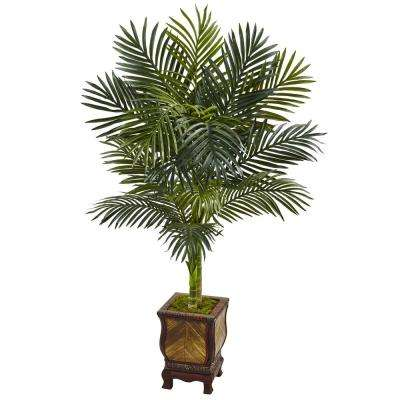 Indoor Golden Cane Palm Artificial Tree in Wooden Decorated Planter