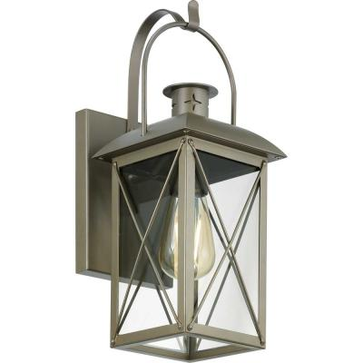 Woodcliff 1-Light 15 in. Weathered Brass Outdoor Wall Lantern with Clear Glass