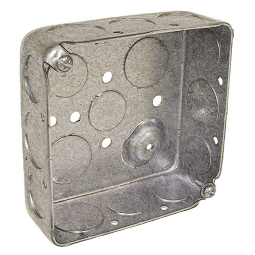 4 in. Square Drawn Box, 1-1/2 in. Deep with 1/2 &