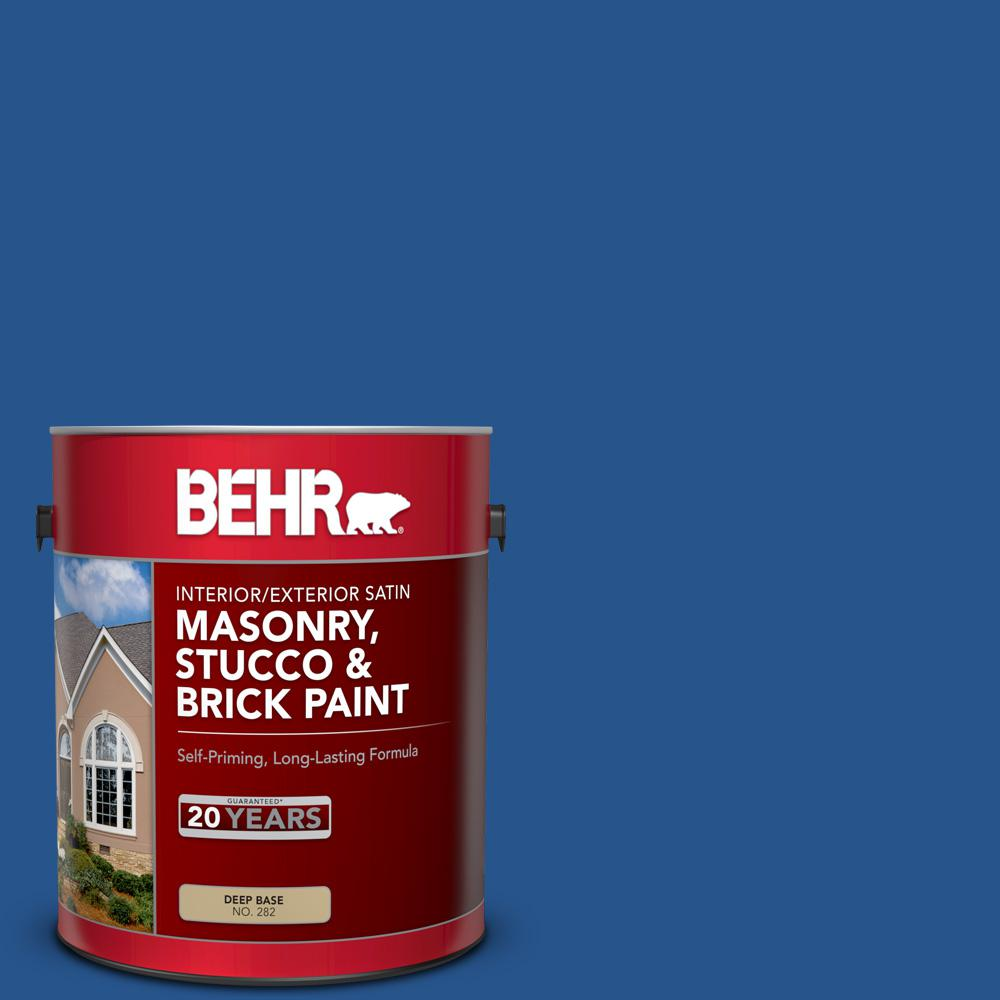 BEHR 1 gal. #PPU15-03 Dark Cobalt Blue Satin Interior/Exterior Masonry, Stucco and Brick Paint