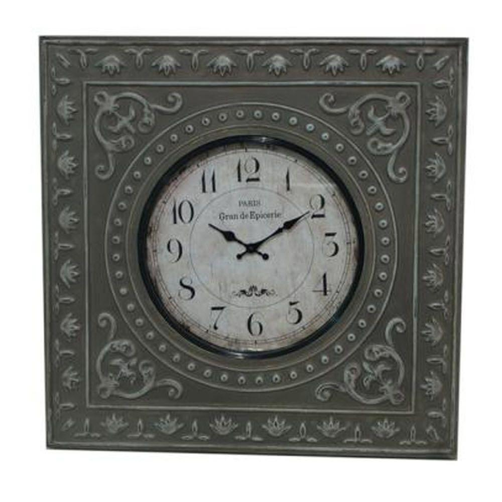 Home Decorators Collection Nantes 22.25 in. H x 22.25 in. W Antiqued Grey Wall Clock
