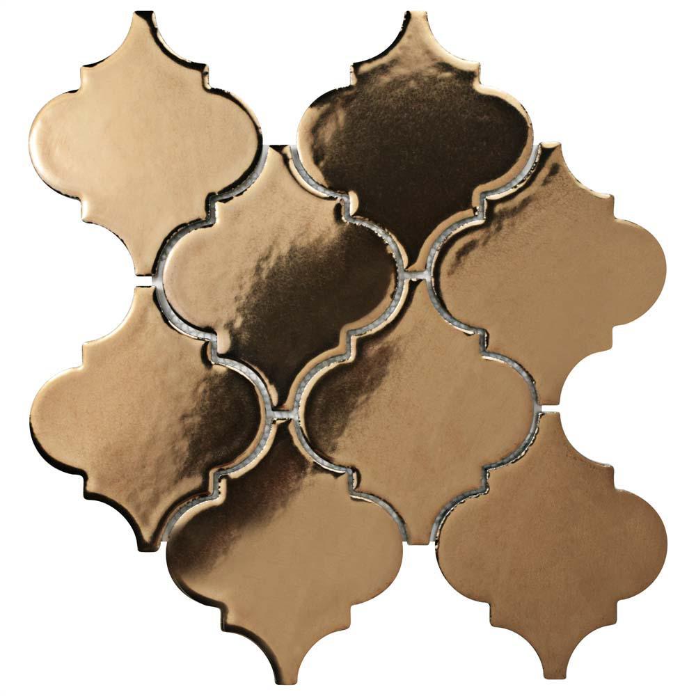 Essence Lantern Burnished Bronze 10-1/2 in. x 10-1/2 in. x 9 mm Porcelain Mosaic Tile