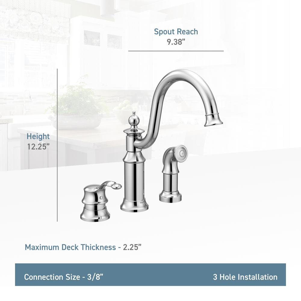 MOEN Waterhill High-Arc Single-Handle Standard Kitchen Faucet with Side  Sprayer in Oil-Rubbed Bronze