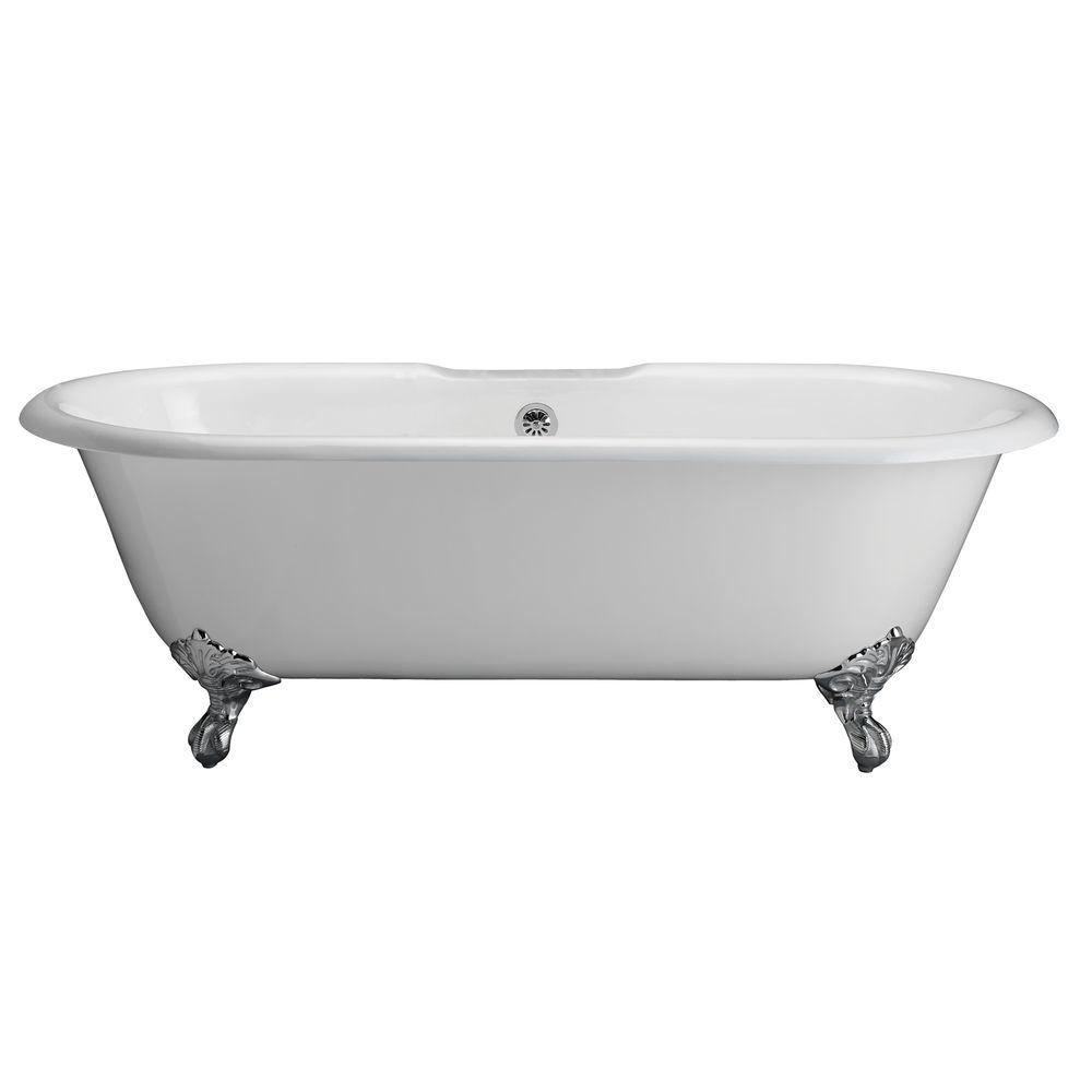 Pegasus 5.6 ft. Cast Iron Imperial Feet Double Roll Top Tub in White