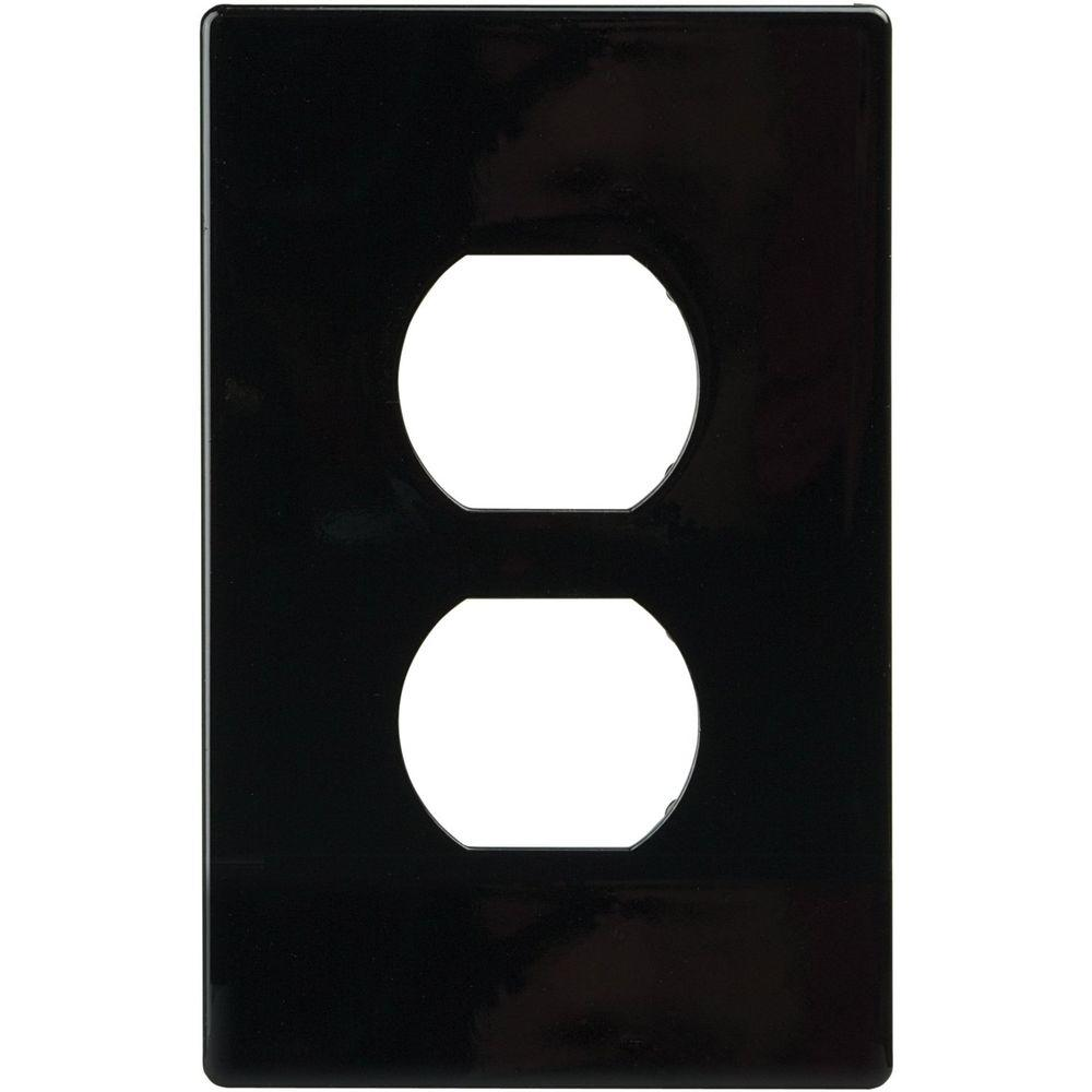 2 Switch Duplex Nylon Wall Plate, Black