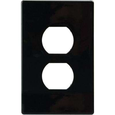 2 Switch Duplex Nylon Wall Plate, Black