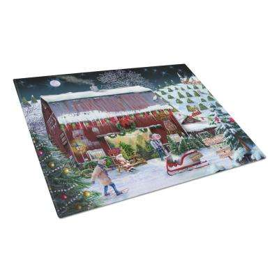 Christmas Tree Farm Tempered Glass Large Cutting Board
