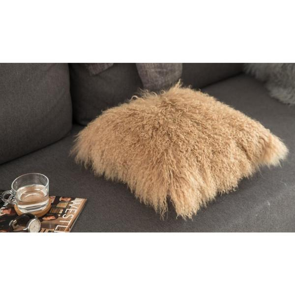 DEERLUX Genuine Mongolian Lamb Fur Sheepskin Beige 16 in. Square Pillow Cover with Cushion