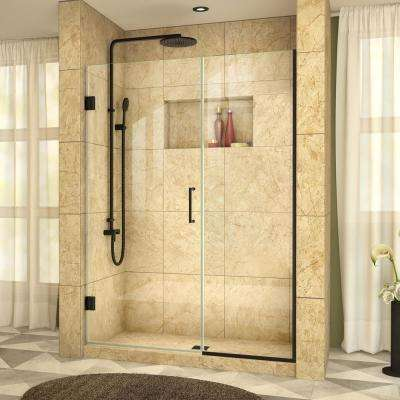Unidoor Plus 48 in. to 48-1/2 in. x 72 in. Frameless Hinged Shower Door in Satin Black