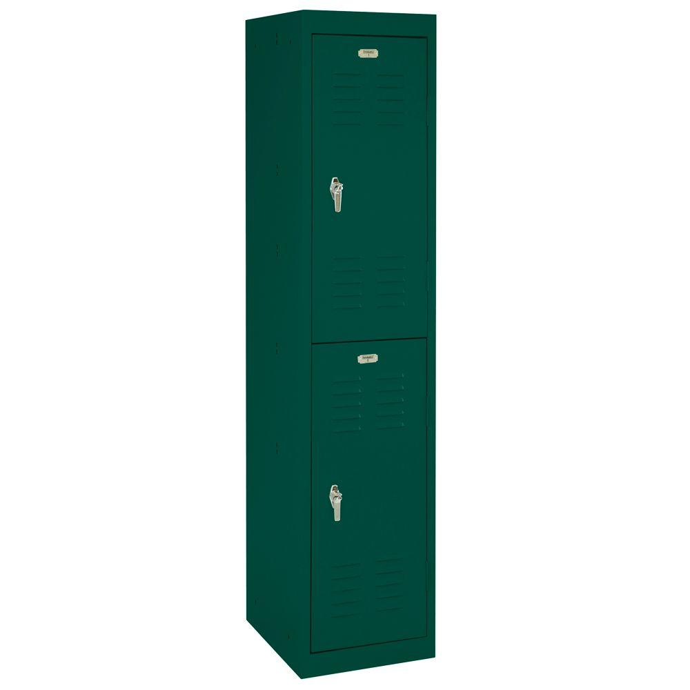 Sandusky 15 in. W x 66 in. H x 18 in. D 2-Tier Welded Storage Locker in Forest Green
