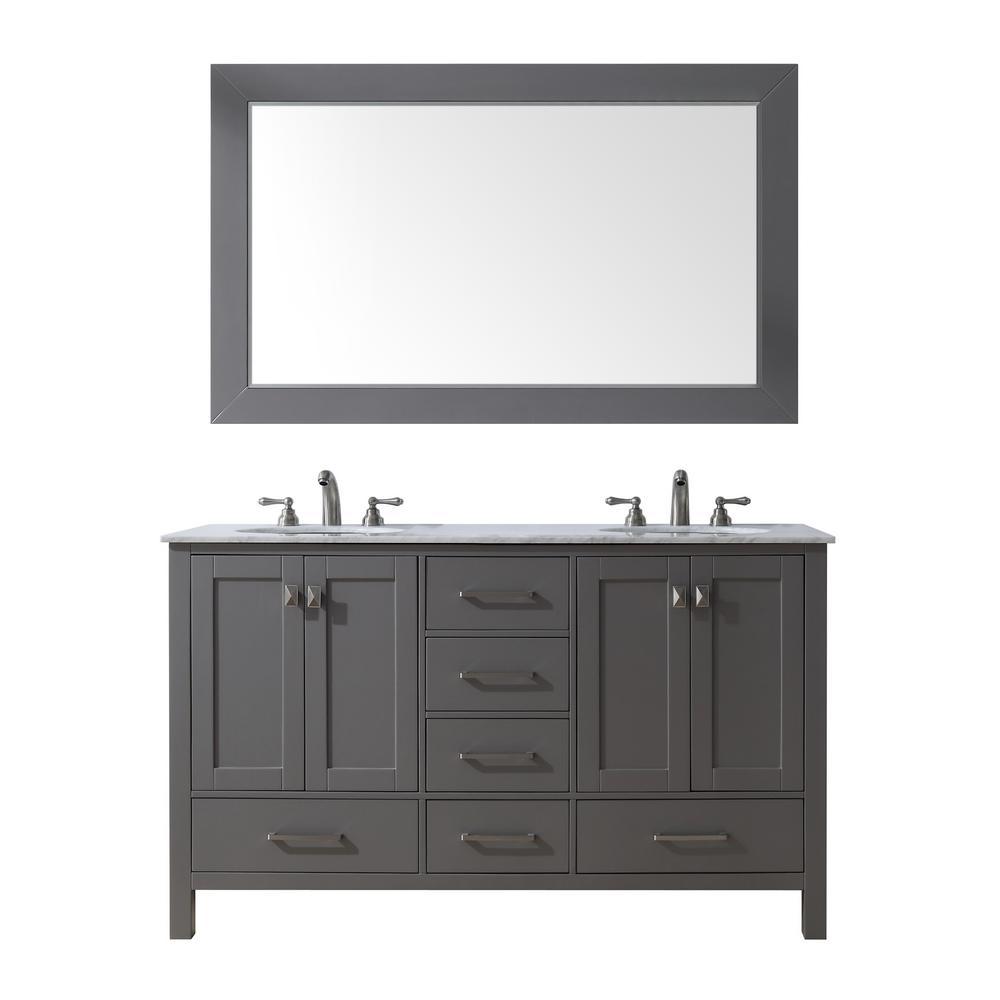 60 in double sink vanity. stufurhome 60 in  Malibu Double Sink Vanity Gray with Marble Top Carrara