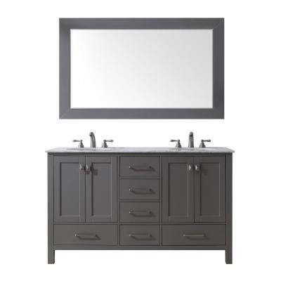 60 in. Malibu Double Sink Vanity in Gray with Marble Vanity Top in Carrara with White Basin with Mirror