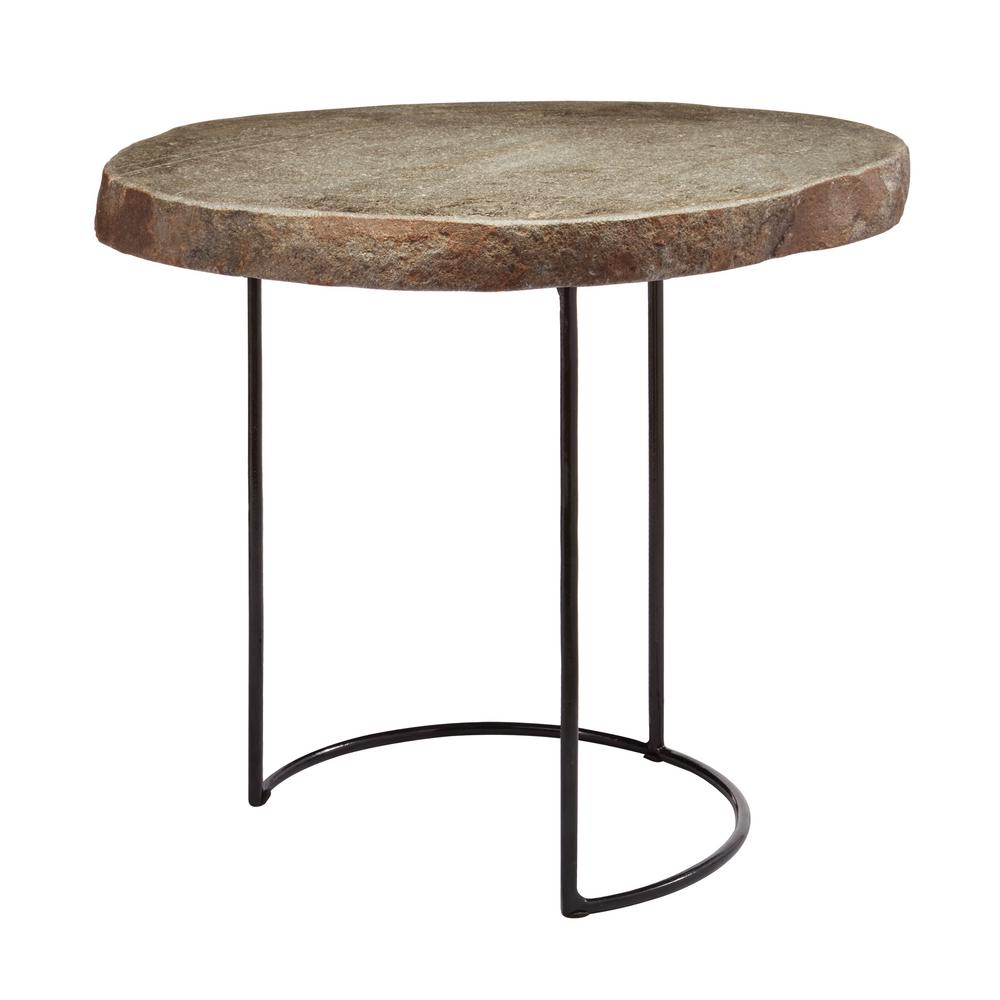 Bon Titan Lighting Short Natural Stone Slab U0026 Black Wire Frame Side Table