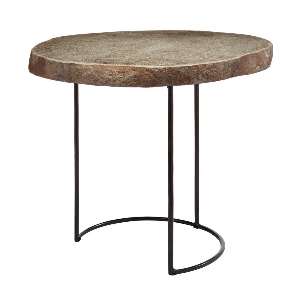 An Lighting Short Natural Stone Slab Black Wire Frame Side Table