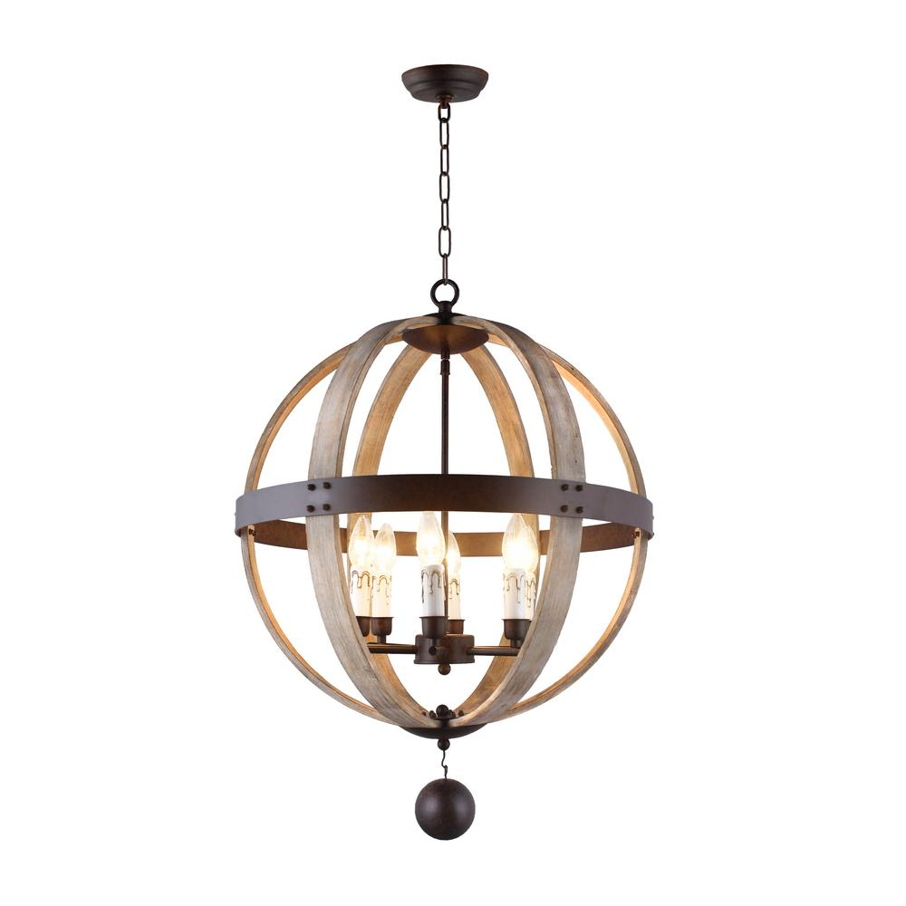 Y decor 6 light rustic metal and natural wood candle style globe chandelier