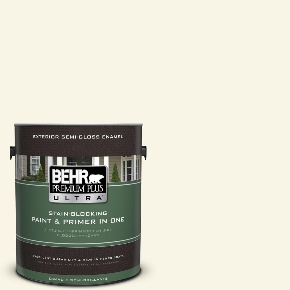 BEHR Premium Plus Ultra 1-gal. #PWN-12 Palatial White Semi-Gloss Enamel Exterior Paint