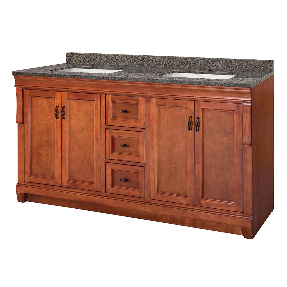 Home Decorators Collection Naples 61 in. W x 22 in. D Vanity in Warm Cinnamon with Granite Vanity Top in Sircolo with White Sink