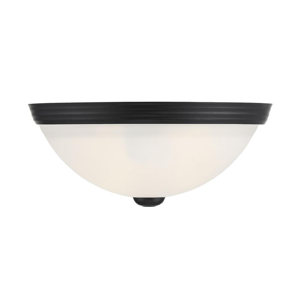 11 in. 2-Light Black Flush Mount