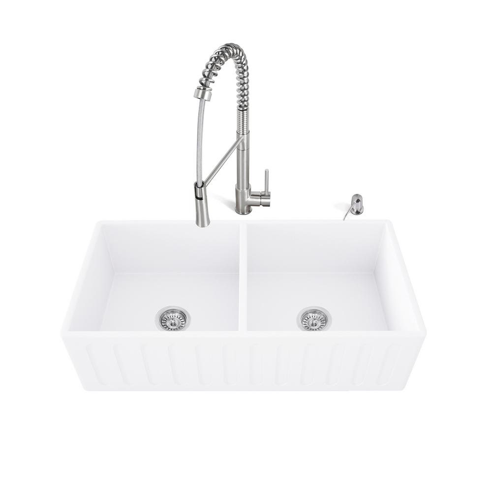 VIGO All In One Farmhouse Matte Stone 33 In. Double Bowl Kitchen Sink With  Laurelton Stainless Steel Faucet VG15470   The Home Depot