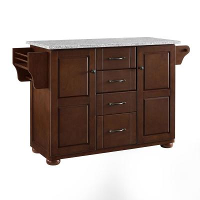 Eleanor Mahogany Kitchen Island with Granite Top