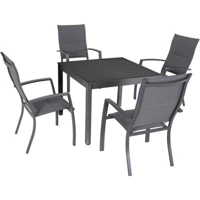 Nova 5-Piece Aluminum Outdoor Dining Set with 4-Padded Sling Chairs and 38 in. Square Dining Table