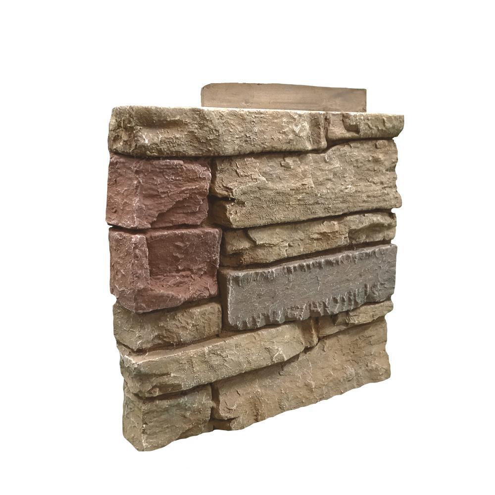 Stacked Stone Desert Sunrise 12 in. x 1.375 in. x 12 in. Faux Stone Siding Left Corner Panel