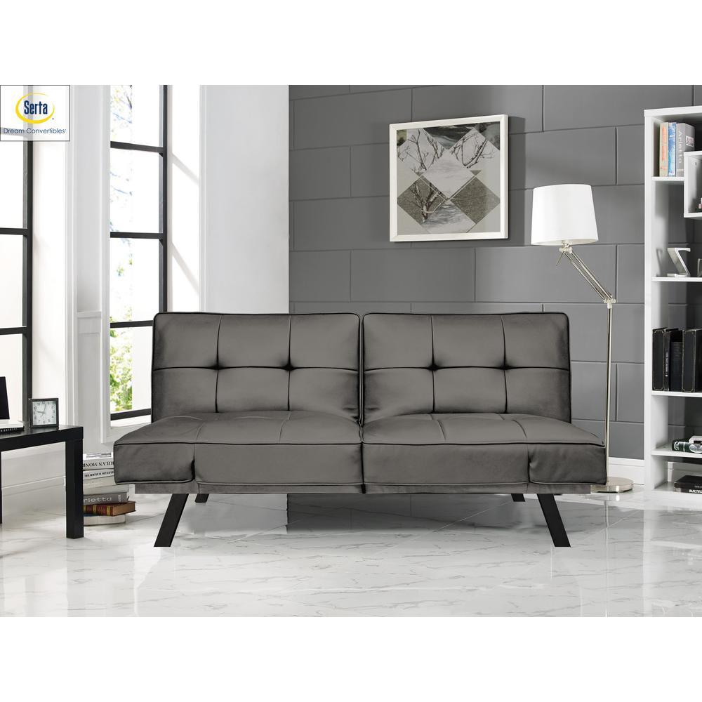 Serta Denver Dark Grey 3-Seat Convertible Faux Leather Sofa ...