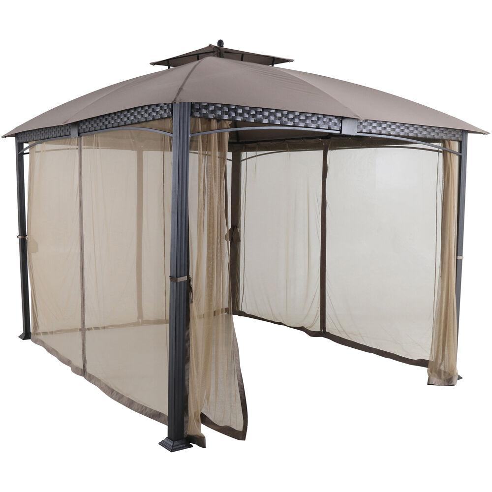 Hanover Aster 11.8 ft. x 9.8 ft. Tan Aluminum and Steel Gazebo with Mosquito Netting
