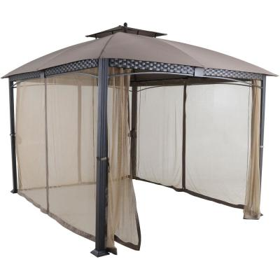 Aster 11.8 ft. x 9.8 ft. Tan Aluminum and Steel Gazebo with Mosquito Netting