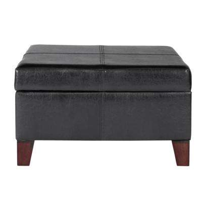 Large Black Faux Leather Storage Ottoman