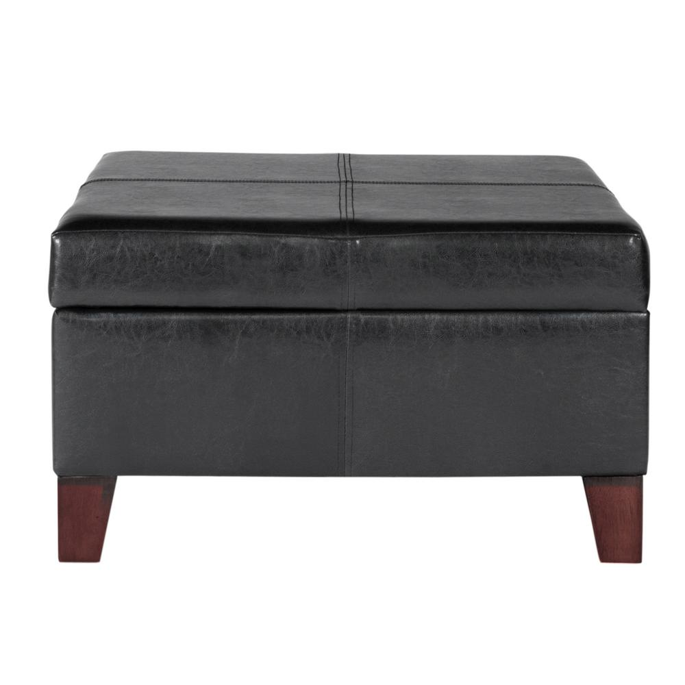 Homepop Large Black Faux Leather Storage Ottoman K2380 E169