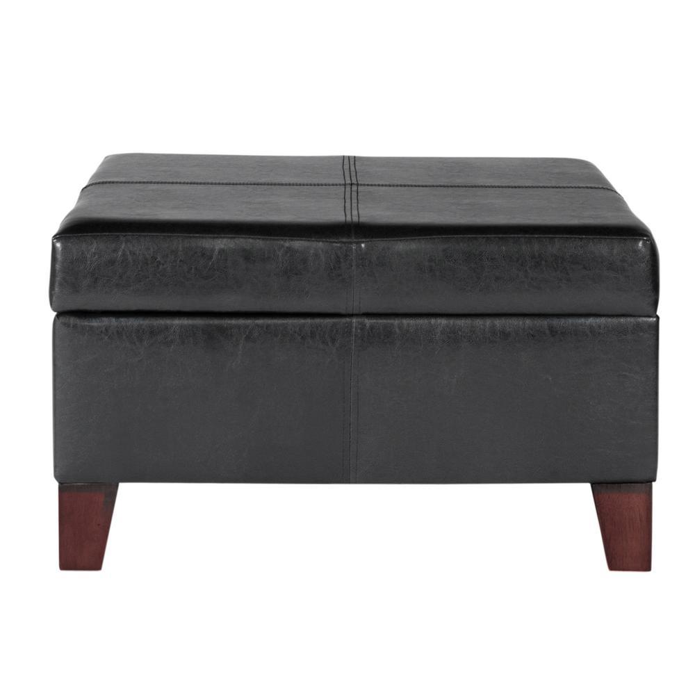 Large Black Faux Leather Storage Ottoman