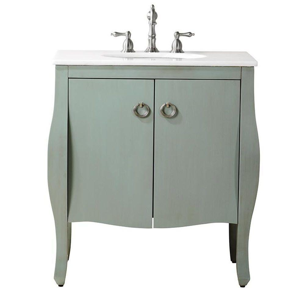 Home Decorators Collection Savoy 31 in. W x 22 in. D Bath Vanity in Blue with Marble Vanity Top in White with White Sink