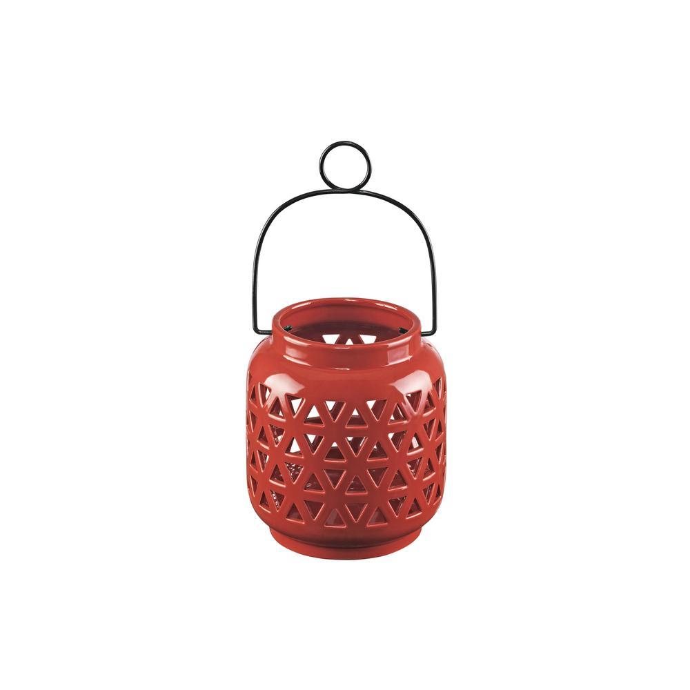 6.5 in. Ceramic Lantern in Chili