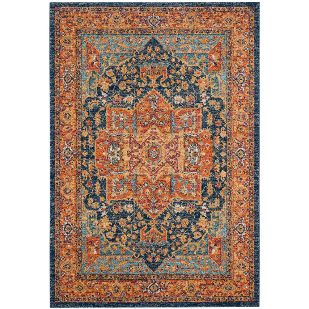 Safavieh Evoke Blue Orange 5 Ft 1 In X 7 Ft 6 In Area