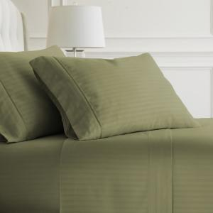 4-Piece Sage Striped Microfiber California King Sheet Set