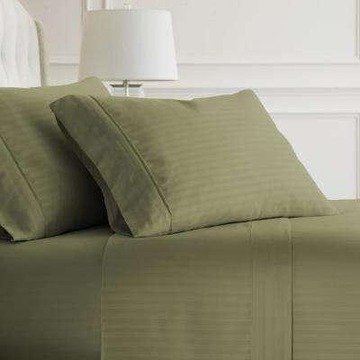 Embossed Striped 4-Piece Sage Twin Performance Bed Sheet Set