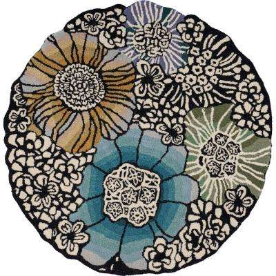 Sinous Blue / Multi 6 ft. Round Floral Blossoms Wool Blend Area Rug