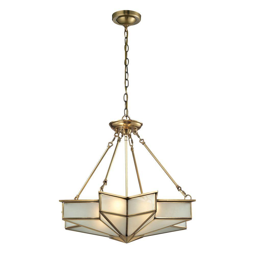 Vitruvius Collection 4-Light Brushed Brass Pendant