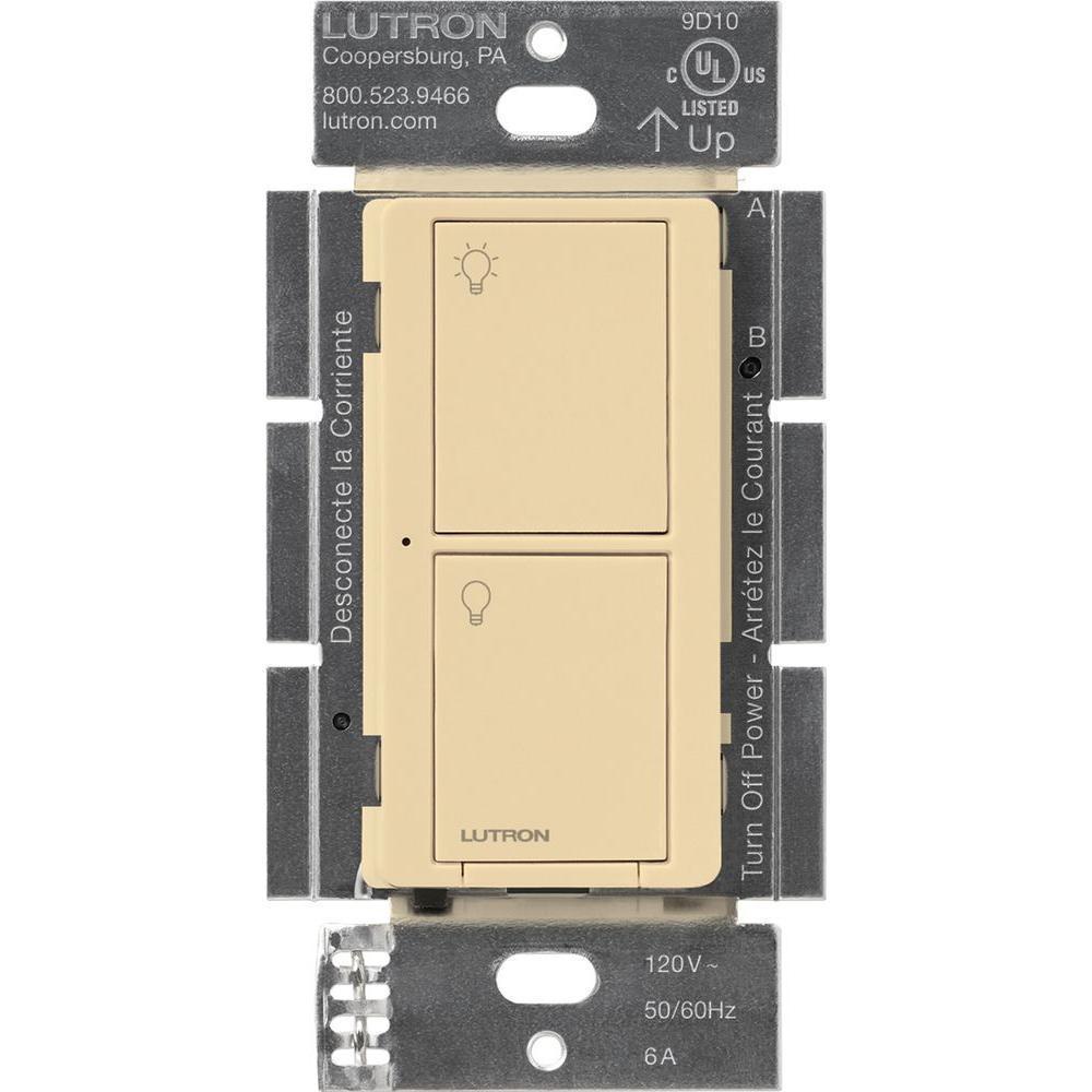 Caseta Wireless Smart Lighting Switch for All Bulb Types or Fans, Ivory