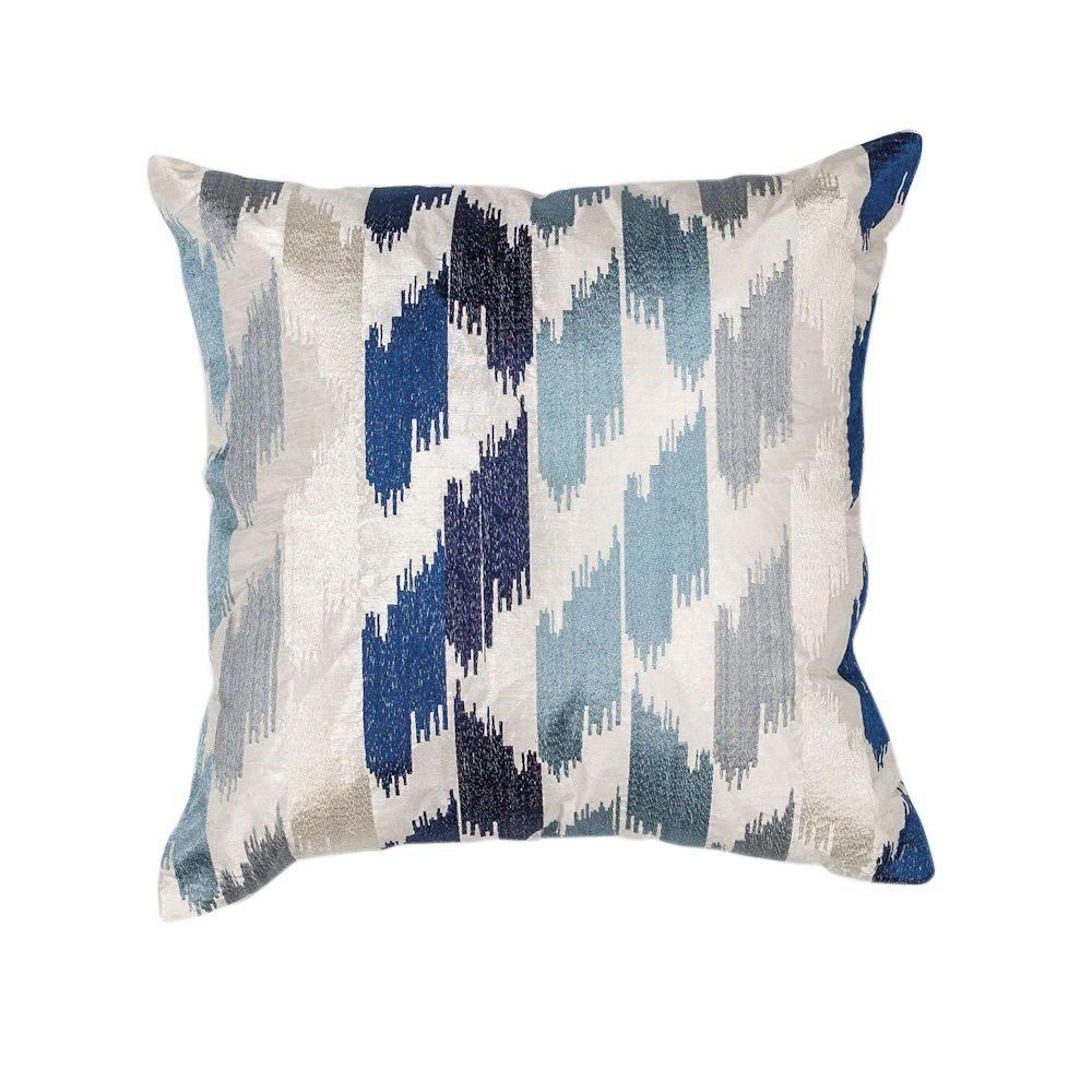 Decorative Pillows With Crosses : Kas Rugs Cross Stripe Blue Decorative Pillow-PILL20618SQ - The Home Depot