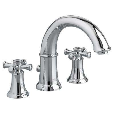 Portsmouth 2-Handle Deck-Mount Roman Tub Faucet with Cross Handles for Flash Rough-in Valves in Polished Chrome